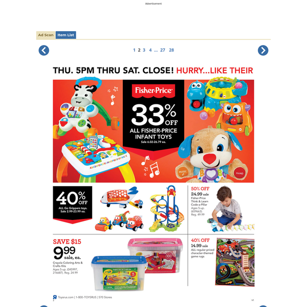Browse the complete 28-page Toys R Us Black Friday Ad for 2017 including store hours and a complete listing of deals.