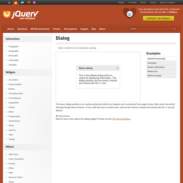 jQuery UI is a curated set of user interface interactions, effects, widgets, and themes built on top of the jQuery JavaScript Library. Whether you're building highly interactive web applications or you just need to add a date picker to a form control, jQuery UI is the perfect choice.