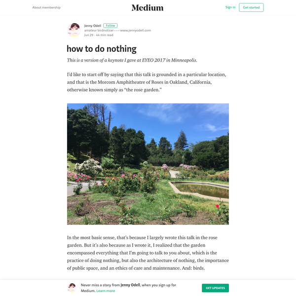 how to do nothing - Jenny Odell - Medium