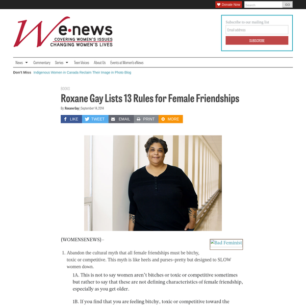 Roxane Gay Lists 13 Rules for Female Friendships