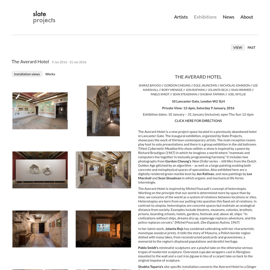 slate projects exhibitions the averard hotel