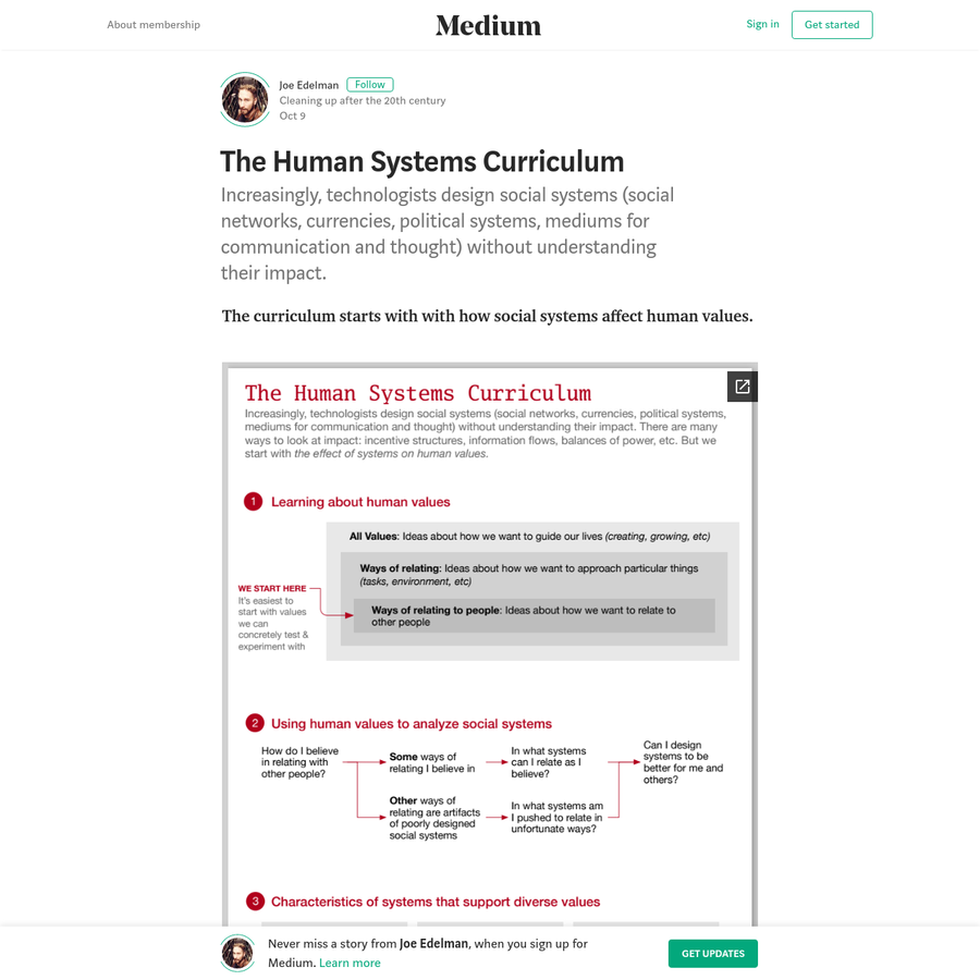 The curriculum starts with with how social systems affect human values. Contact me to get involved. We're starting up local study groups at tech company campuses, universities, design schools, and so on. Hosts wanted!