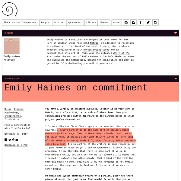 Musician Emily Haines discusses the way she approaches songwriting, using your creative practice as a means of manifesting your own reality, and what is gained by committing fully to your work.