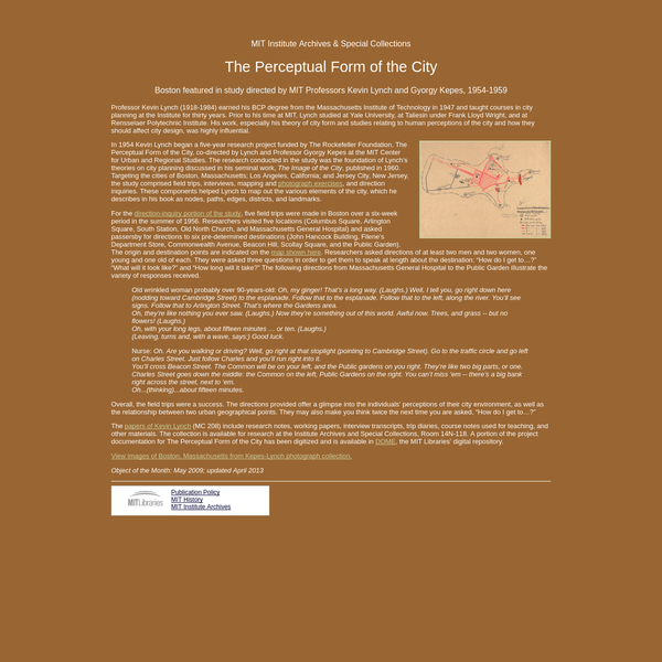 Perceptual Form of the City, 1954-1959: Exhibits: Institute Archives & Special Collections: MIT