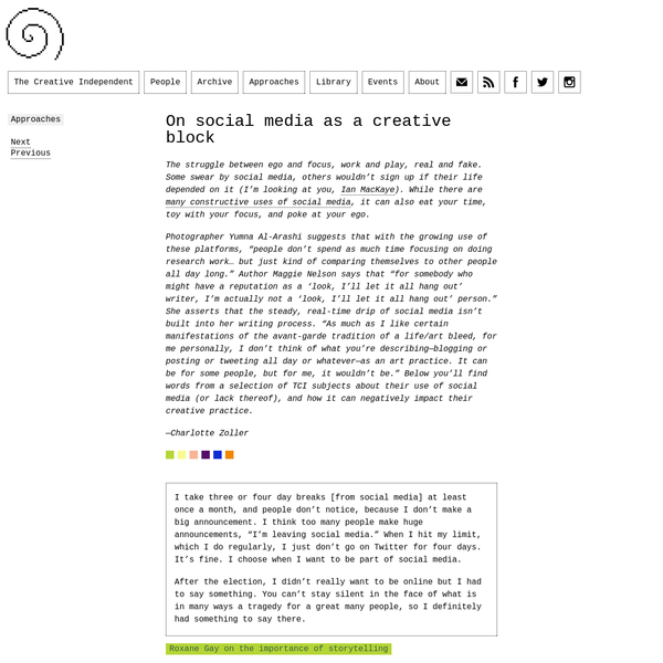 Approach: On Social Media as a Creative Block