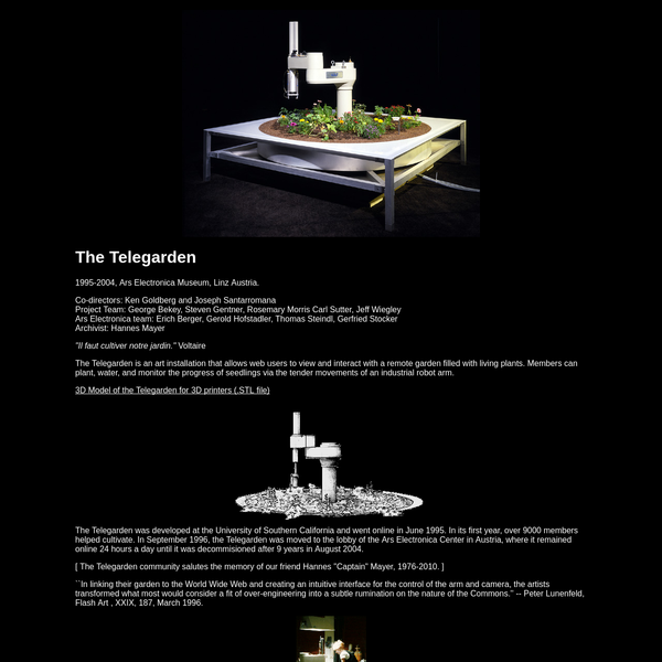 Website for the art installation that allowedanyone on the internet to view and interact with a remote garden filled with living plants