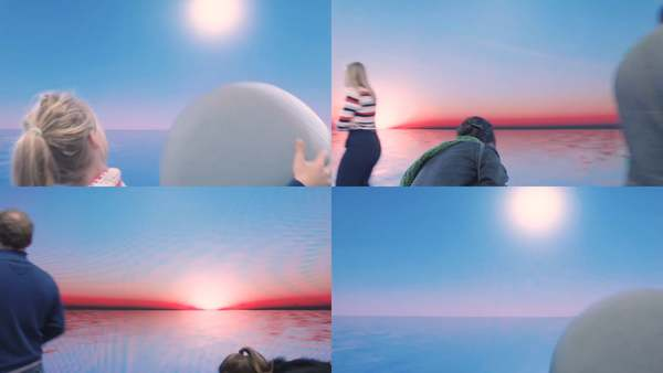 SUN is an interactive installation that invites us to play with nature's cycles. Using a giant bouncy ball, viewers can control the movement of the sun making it rise and fall over a crisp horizon. Lit by the perfect sun, this is a landscape born from a Google Image kind of sublime.
