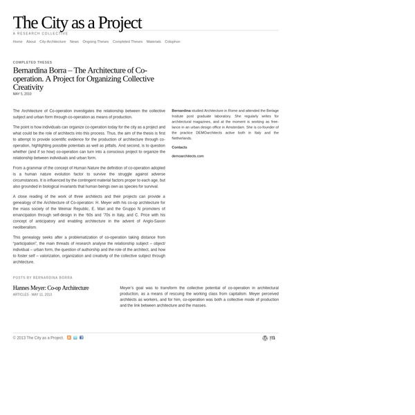 The City as a Project | Bernardina Borra - The Architecture of Co-operation. A Project for Organizing Collective Creativity