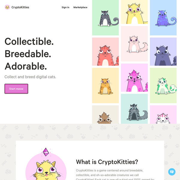 Collect and trade CryptoKitties in one of the world's first blockchain games. Breed your rarest cats to create the purrfect furry friend. The future is meow!