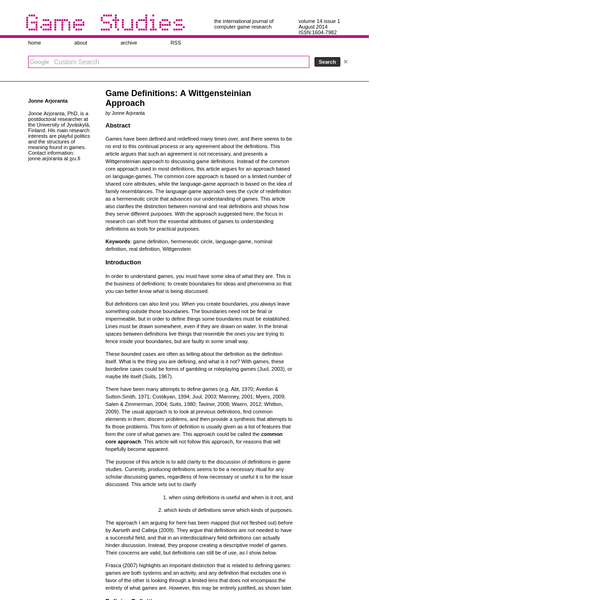 Game Studies - Game Definitions: A Wittgensteinian Approach