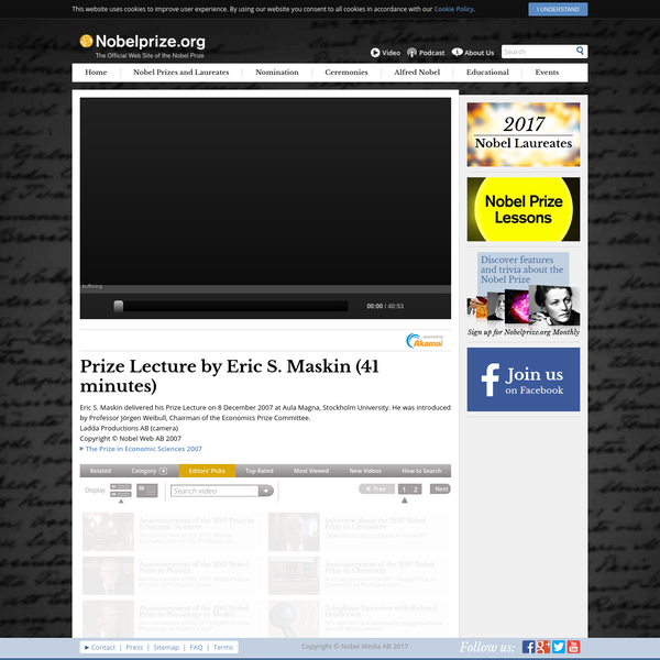 Prize Lecture by Eric S. Maskin - Media Player at Nobelprize.org