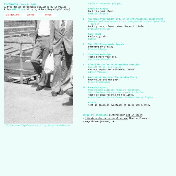 Footnotes La Police's periodical bulletin