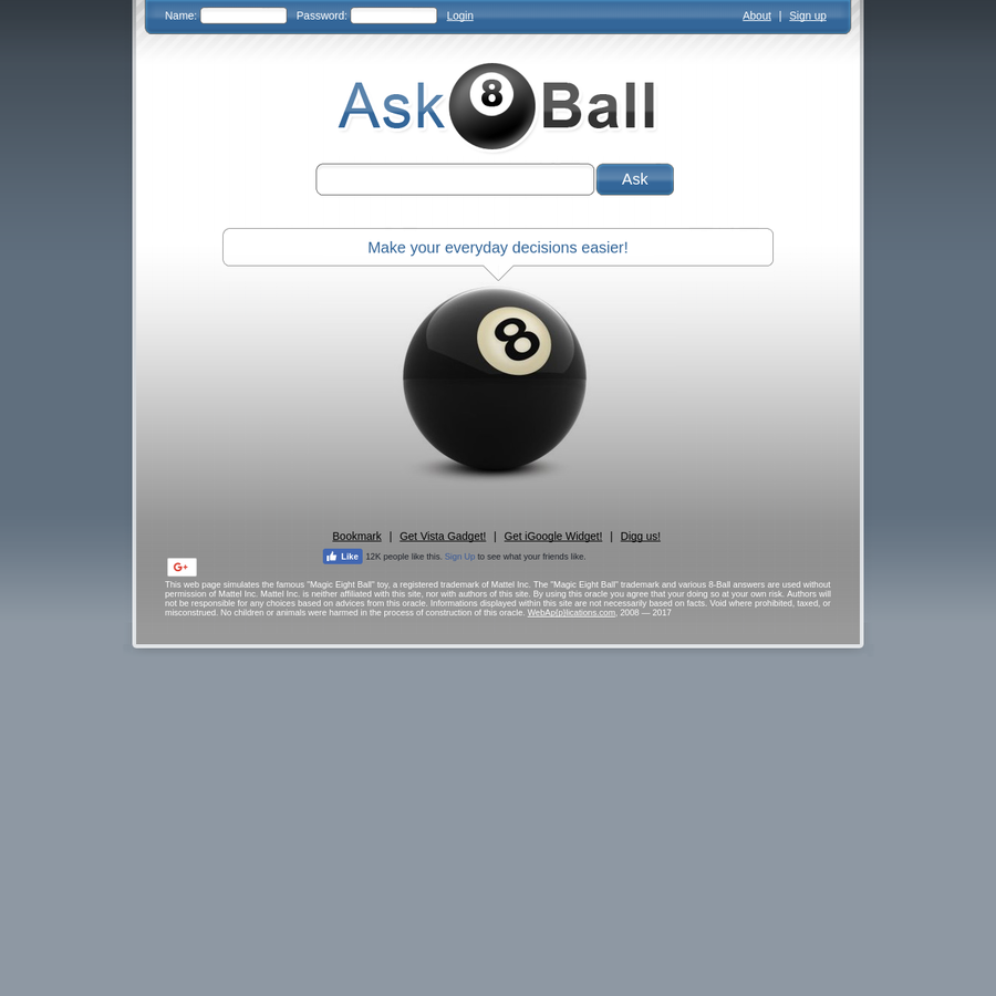 Ask the oracle 8 ball