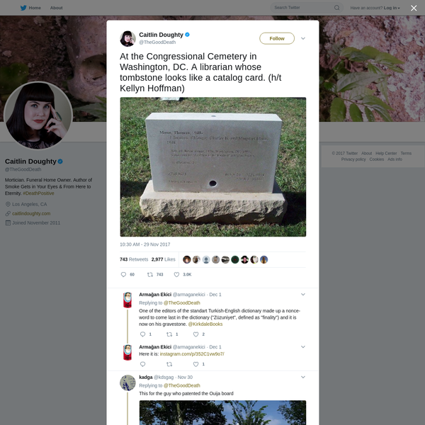 At the Congressional Cemetery in Washington, DC. A librarian whose tombstone looks like a catalog card. (h/t Kellyn Hoffman)