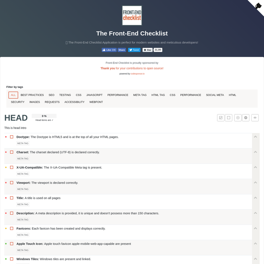🗂 The Front-End Checklist Application is perfect for modern websites and meticulous developers! Follow the rules and deliver the best of your work in a generated report!