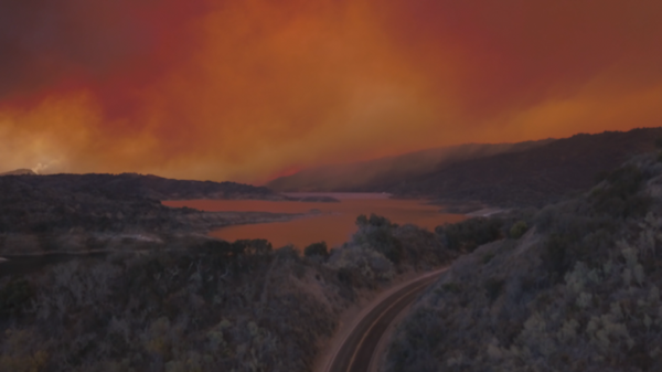 Drone footage captured fires burning near Lake Casitas on Dec. 5