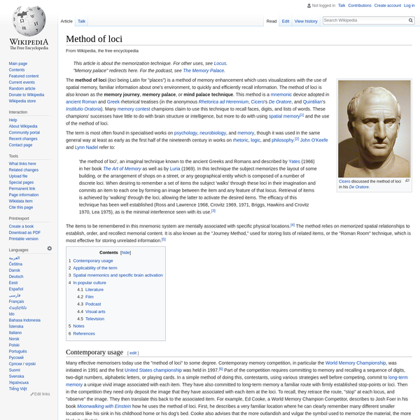 Method of loci - Wikipedia