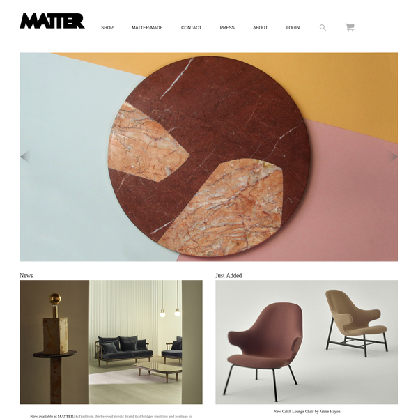 Matter is a New York based contemporary design store and manufacturer located in lower Manhattan featuring furniture, lighting, wallpaper, home accessories and jewelry. MatterMade, the in-house collection, represents a new standard in luxury American craft.