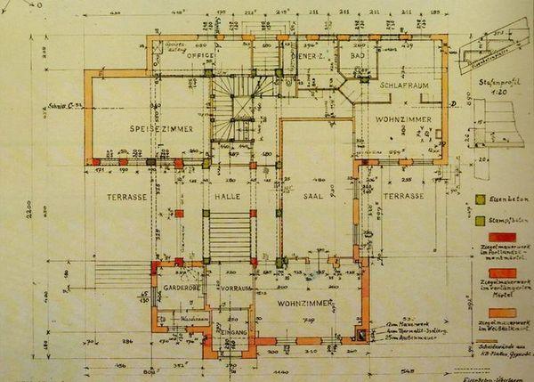 blueprint for Haus Wittgenstein