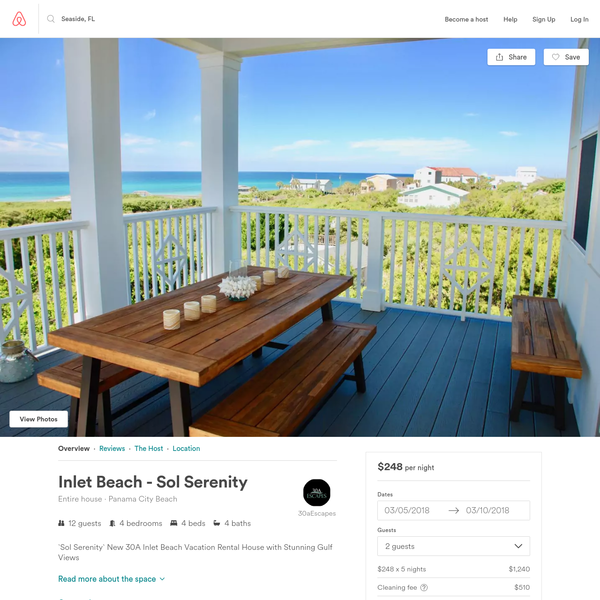 Inlet Beach - Sol Serenity - Houses for Rent in Panama City Beach, Florida, United States