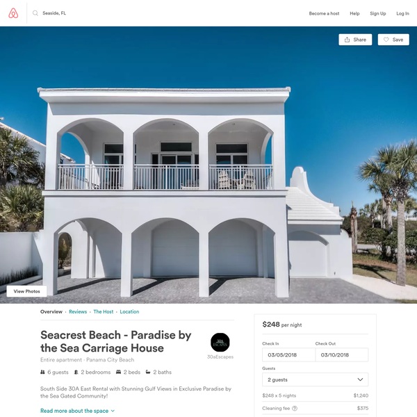 Seacrest Beach - Paradise by the Sea Carriage House - Apartments for Rent in Panama City Beach, Florida, United States