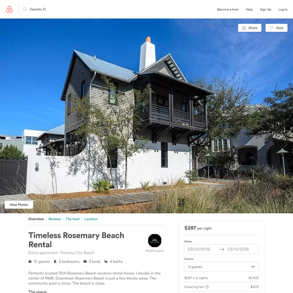 Timeless Rosemary Beach Rental - Apartments for Rent in Panama City Beach, Florida, United States