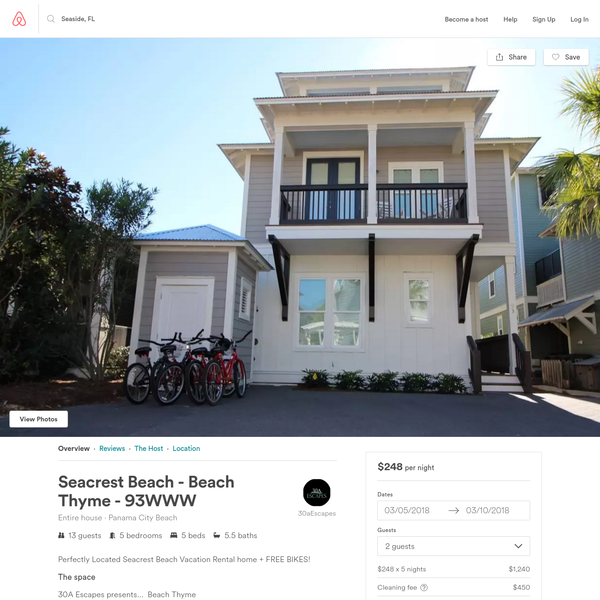 Seacrest Beach - Beach Thyme - 93WWW - Houses for Rent in Panama City Beach, Florida, United States