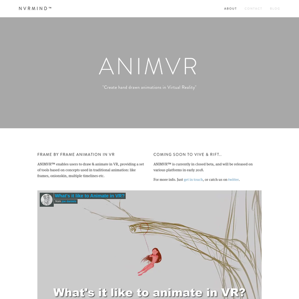 """""""Create hand drawn animations in Virtual Reality"""""""