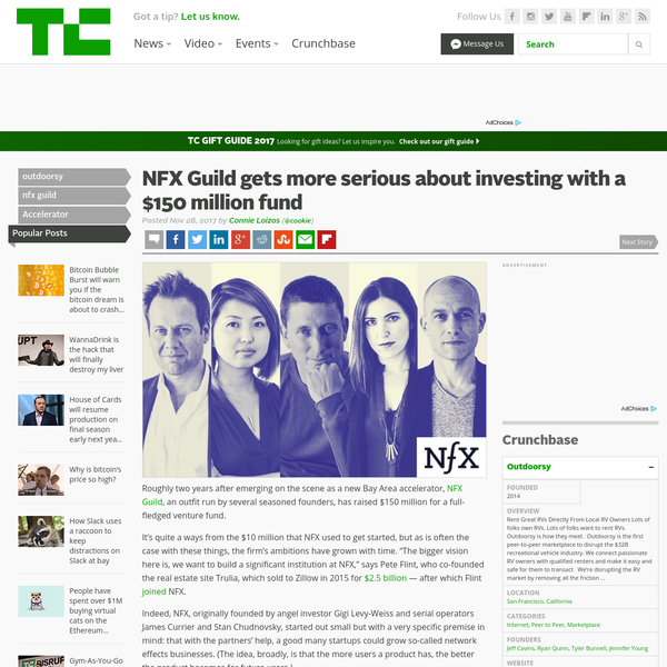Roughly two years after emerging on the scene as a new Bay Area accelerator, NFX Guild, an outfit run by several seasoned founders, has raised $150 million for a full-fledged venture fund. It's quite a ways from the $10 million that NFX used to get started, but as is often the case with these things, the firm's ambitions have grown with time.