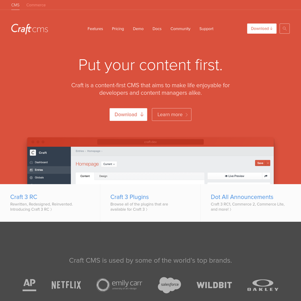 Craft CMS is a focused content management system for developers, designers, and web professionals that blends flexibility, power, and ease of use for clients.