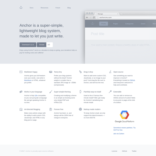 Anchor is a lightweight blogging platform with a focus on simplicity and elegance.