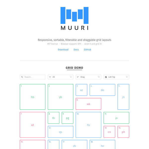 Muuri - Responsive, sortable, filterable and draggable grid layouts