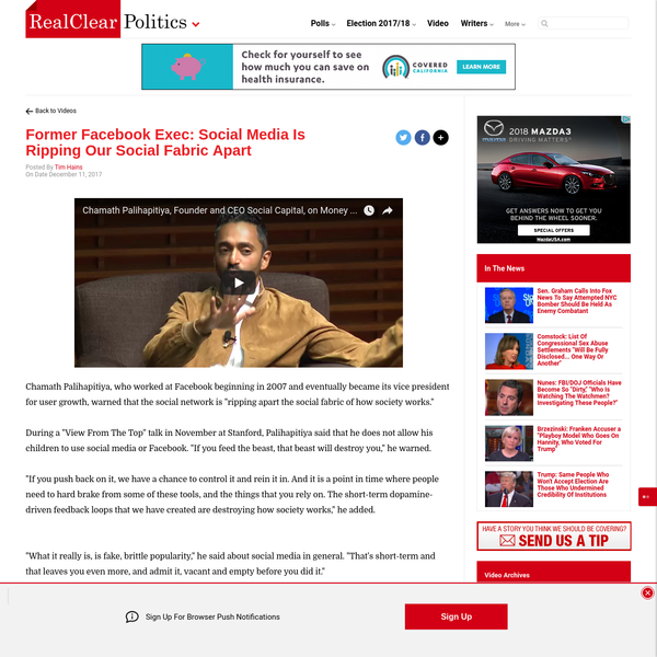 """Chamath Palihapitiya, who worked at Facebook beginning in 2007 and eventually became its vice president for user growth, warned that the social network is """"ripping apart the social fabric of how society works."""" During a """"View From The Top"""" talk in November at Stanford, Palihapitiya said that he does not allow his children to use social media or Facebook."""