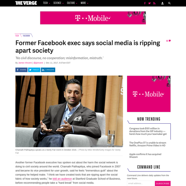"""Another former Facebook executive has spoken out about the harm the social network is doing to civil society around the world. Chamath Palihapitiya, who joined Facebook in 2007 and became its vice president for user growth, said he feels """"tremendous guilt"""" about the company he helped make."""