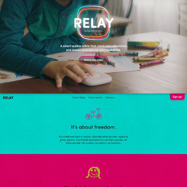 Introducing Relay: A fun, safe way to communicate. Get the peace of mind of a mobile phone + the fun of a walkie-talkie, without the danger of screens.