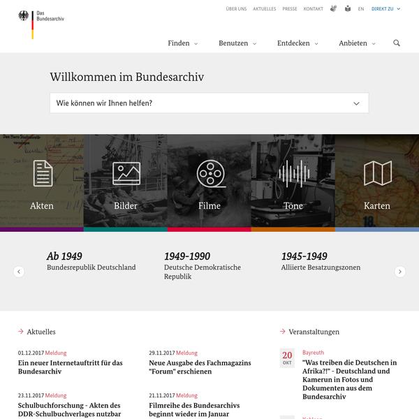 Startseite Bundesarchiv - Internet
