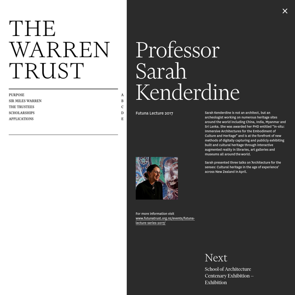 Sarah Kenderdine is not an architect, but an archeologist working on numerous heritage sites around the world including China, India, Myanmar and Sri Lanka. She was awarded her PHD entitled ...