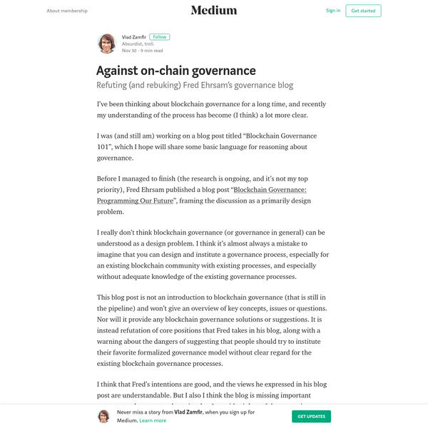 Against on-chain governance - Vlad Zamfir - Medium
