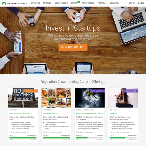 MicroVentures is an investment platform that combines Venture Capital and Equity crowdfunding - allowing you invest in early and late stage investment opportunities.