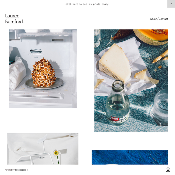 Portfolio website for Melbourne based photographer Lauren Bamford. Features examples of documentary photography, portraiture, food photography, lifestyle photography, fashion photography and music related subjects.