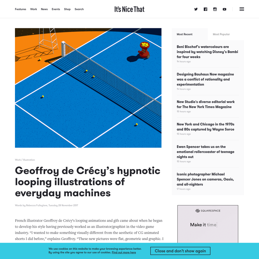 "French illustrator Geoffroy de Crécy's looping animations and gifs came about when he began to develop his style having previously worked as an illustrator/graphist in the video game industry. ""I wanted to make something visually different from the aesthetic of CG animated shorts I did before,"" explains Geoffroy."