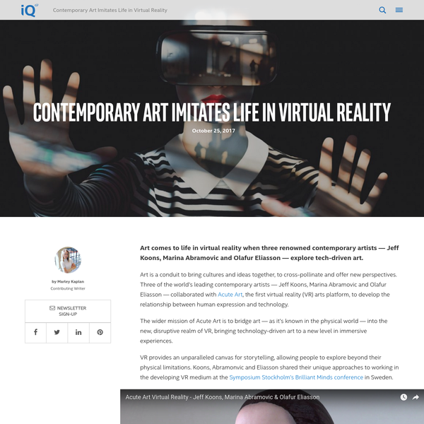 Contemporary Art Imitates Life in Virtual Reality - iQ by Intel