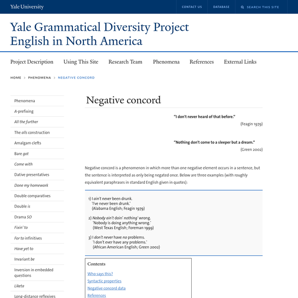 Negative concord | Yale Grammatical Diversity Project: English in North America