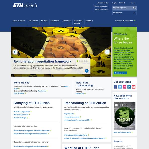 ETH Zurich - Homepage