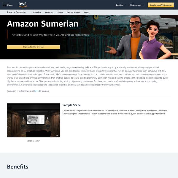 Amazon Sumerian - Build VR & AR applications