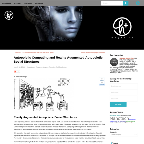 Autopoietic Computing and Reality Augmented Autopoietic Social Structures - h+ Media
