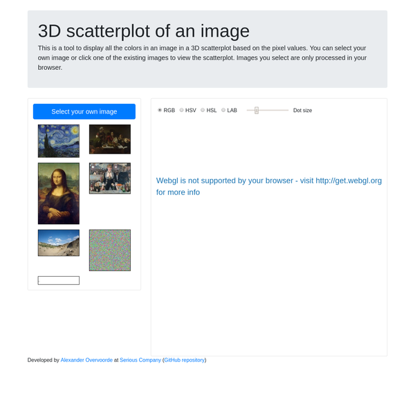 This is a tool to display all the colors in an image in a 3D scatterplot based on the pixel values. You can select your own image or click one of the existing images to view the scatterplot. Images you select are only processed in your browser.