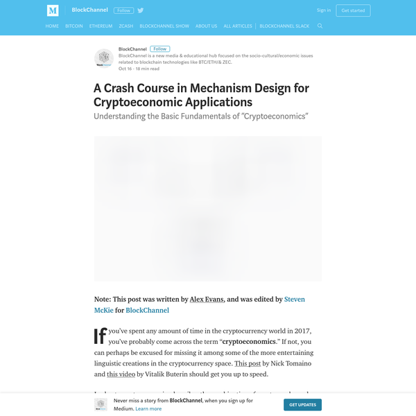 A Crash Course in Mechanism Design for Cryptoeconomic Applications