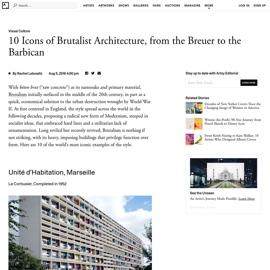 """With béton brut (""""raw concrete"""") as its namesake and primary material, Brutalism initially surfaced in the middle of the 20th century, in part as a quick, economical solution to the urban destruction wrought by World War II."""