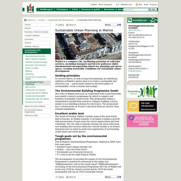 Sustainable Urban Planning - Malmö stad